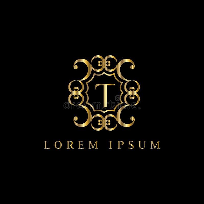 Logotipo luxuoso da letra T, sinal do molde do logotipo do vetor, símbolo, ícone, quadro do luxo do vetor ilustração royalty free