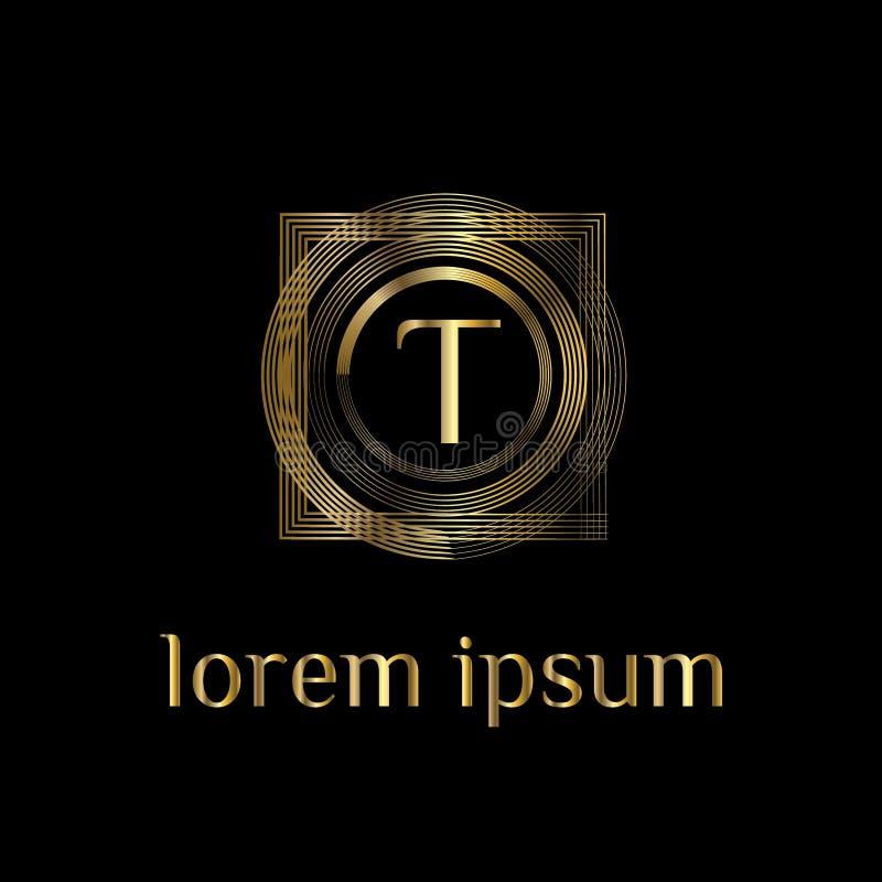 Logotipo luxuoso da letra T Vector o sinal do molde do logotipo, símbolo, ícone, quadro do luxo do vetor ilustração royalty free