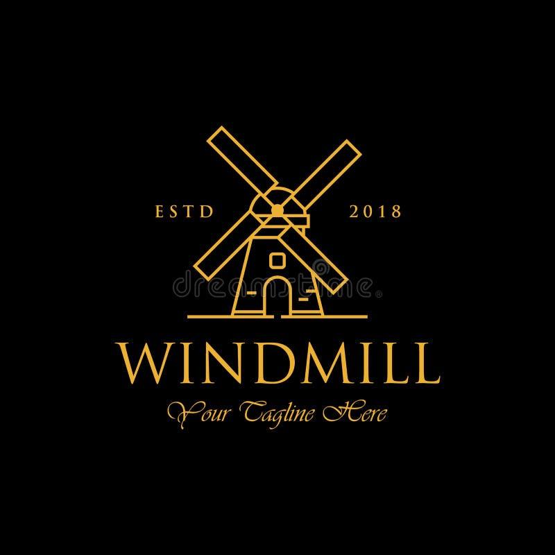 Logotipo luxuoso da linha projetos do logotipo do moinho de vento da arte, clássico e ilustração royalty free