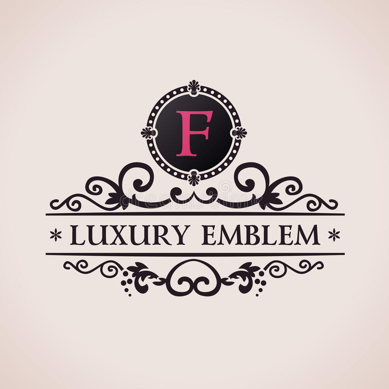 Logotipo luxuoso Decoração elegante do teste padrão caligráfico ilustração royalty free