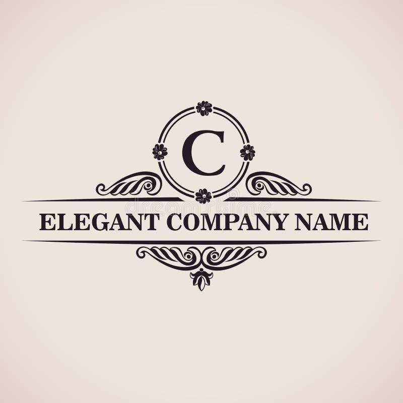 Logotipo luxuoso Decoração elegante do teste padrão caligráfico ilustração stock