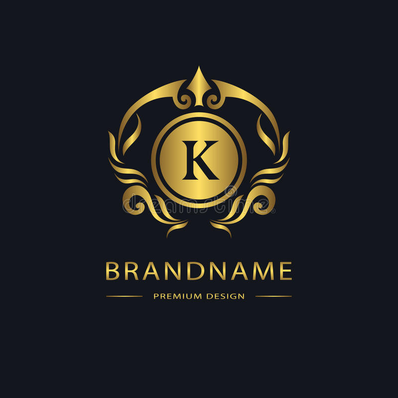 Logotipo luxuoso do vintage Sinal do negócio, etiqueta Emblema K da letra do ouro para o crachá, crista, restaurante, direitos, t