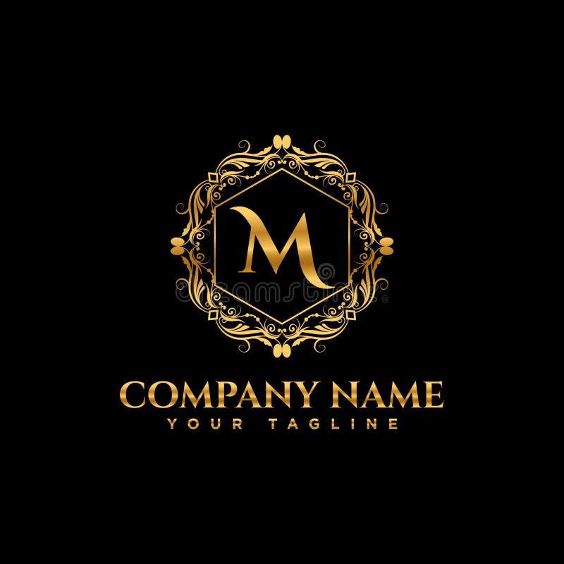 Logotipo luxuoso Elementos elegantes da decoração do teste padrão caligráfico Ornamento do vintage ilustração do vetor