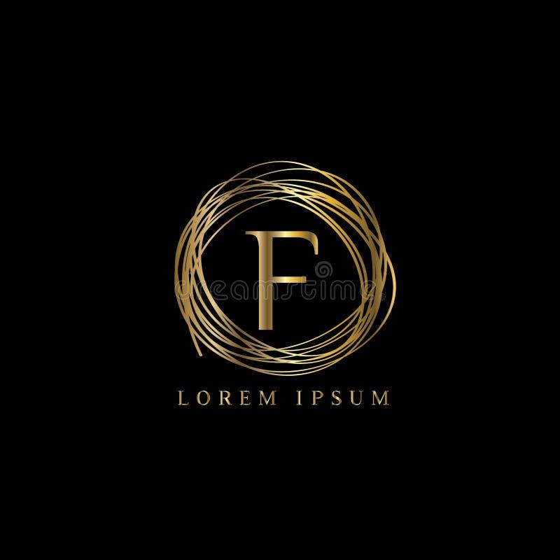 Logotipo luxuoso Letra f Vector o sinal do molde do logotipo, símbolo, ícone, quadro do luxo do vetor ilustração royalty free