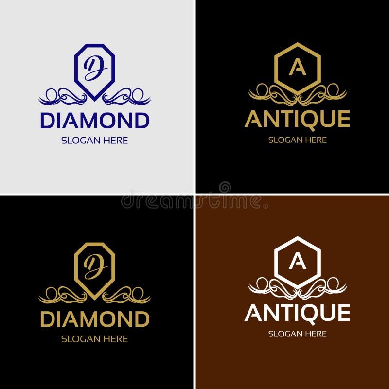 Logotipo luxuoso real da crista ilustração stock