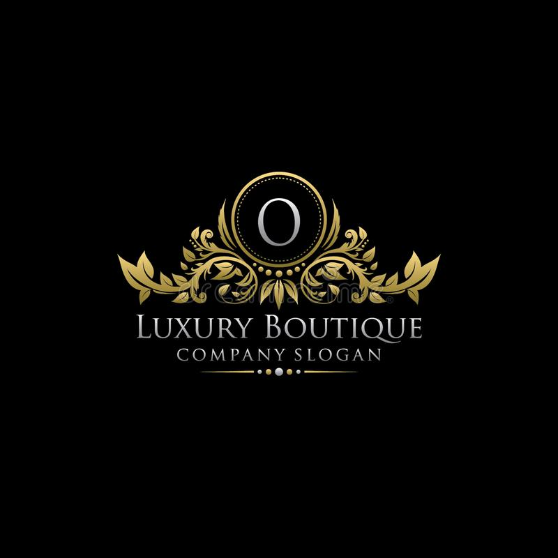 Logotipo luxuoso real da letra do boutique O do ouro ilustração stock