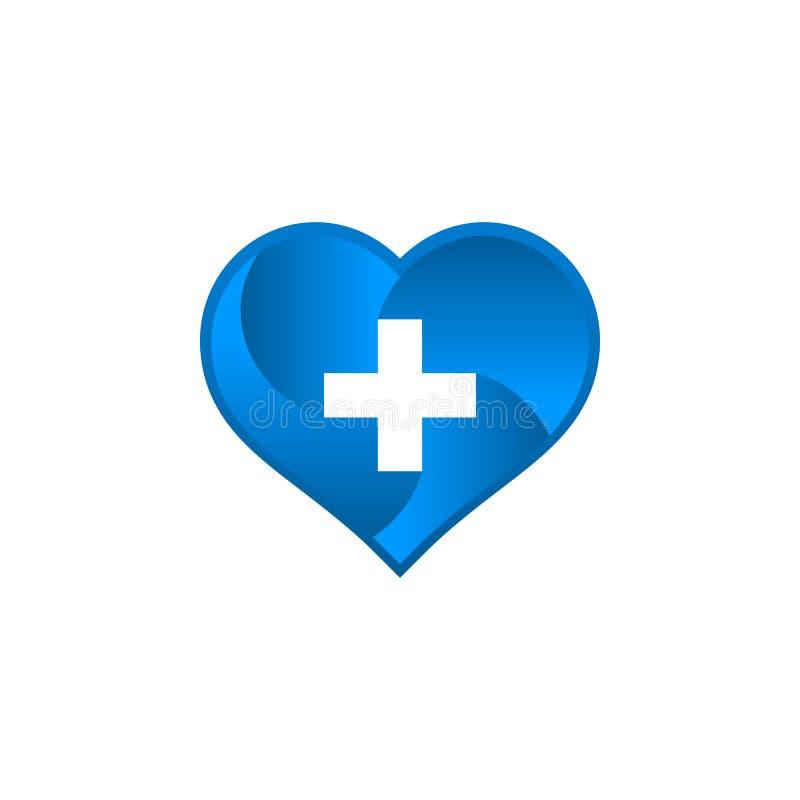Logotipo médico con forma del amor stock de ilustración