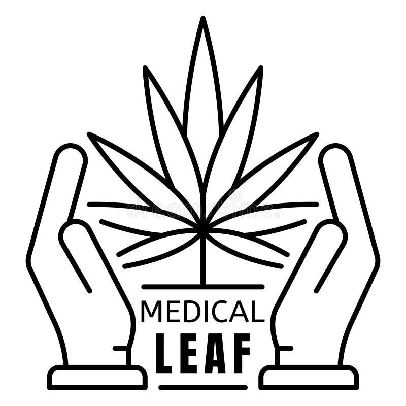 Logotipo médico da folha da marijuana, estilo do esboço ilustração do vetor