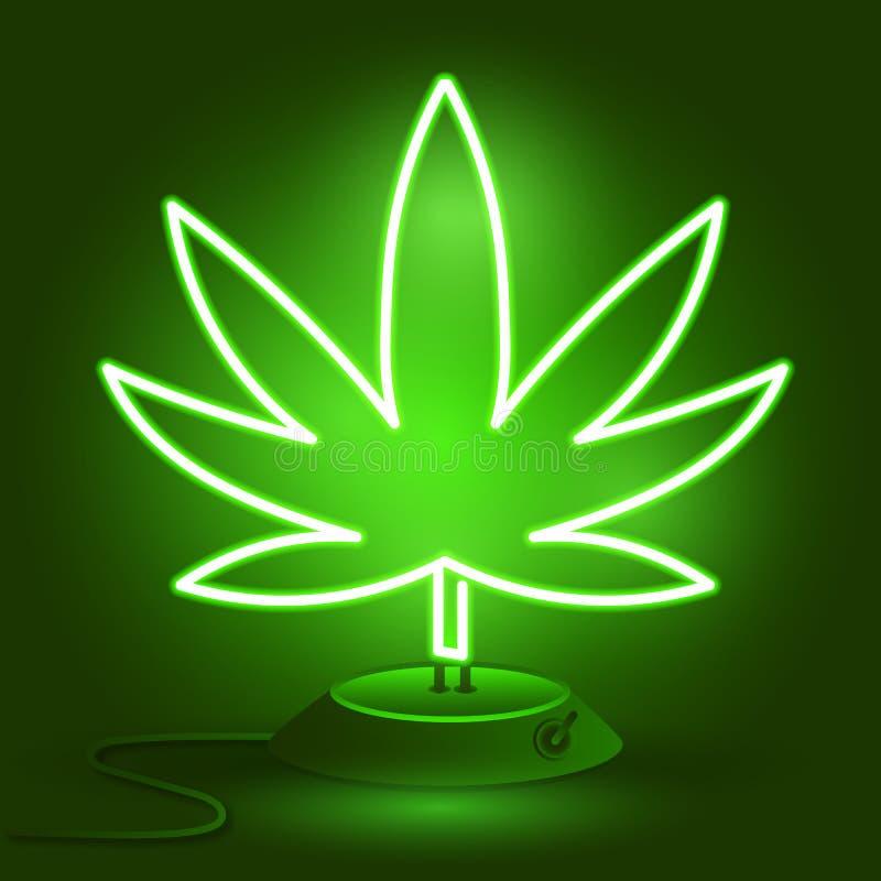 Logotipo médico do cannabis com estilo de incandescência da luz de néon da folha da marijuana ilustração stock