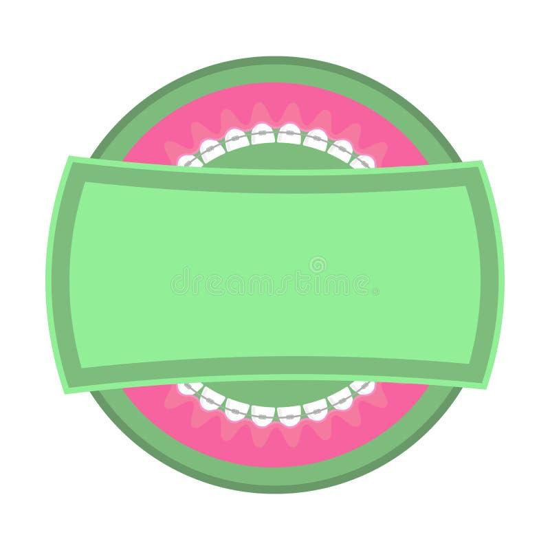 Logotipo médico dos dentes das cintas Fundo dos cuidados dent?rios Ícone ortodôntico do tratamento Boca da abertura dos desenhos  ilustração royalty free