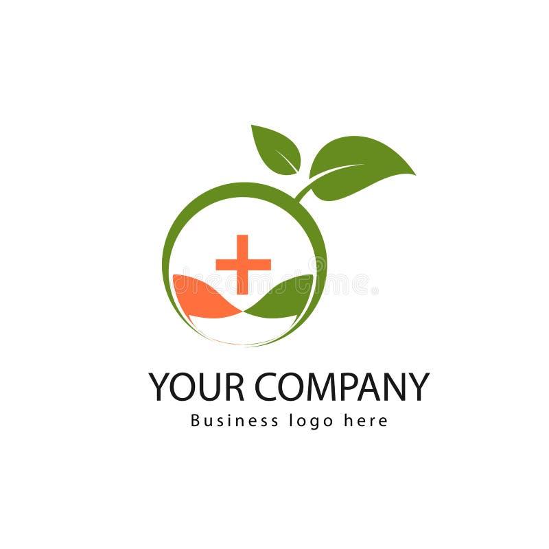Logotipo médico orgánico simple con las hojas libre illustration