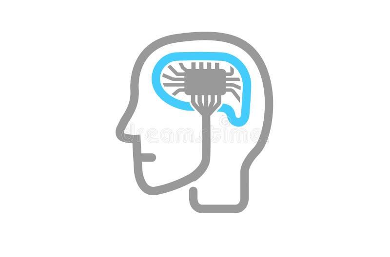 Logotipo métrico de la nube azul stock de ilustración