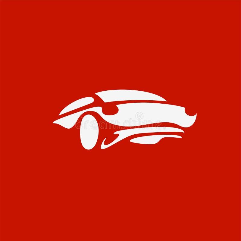 Logotipo mínimo da ilustração branca do vetor do carro de esportes ilustração stock
