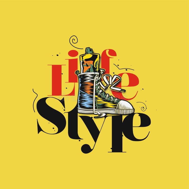 Logotipo mínimo da ilustração do vetor do estilo de vida ilustração stock