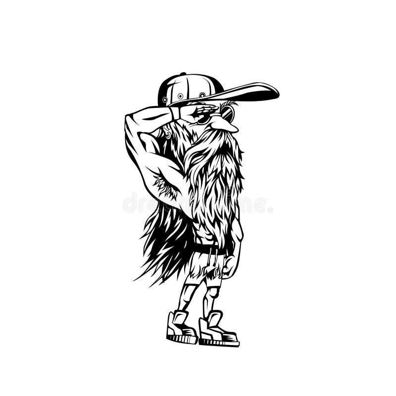 Logotipo mínimo da ilustração preto e branco do vetor dos desenhos animados ilustração do vetor