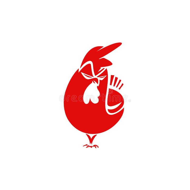 Logotipo mínimo da ilustração vermelha irritada do vetor da galinha ilustração royalty free