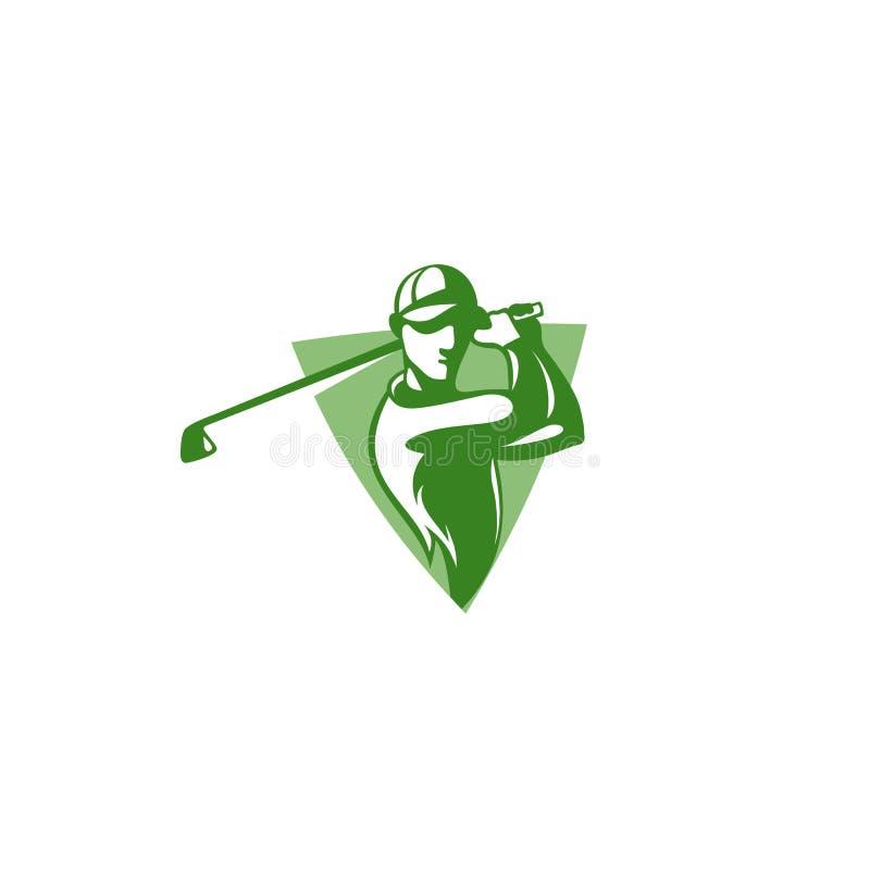Logotipo mínimo del jugador de golf verde con el ejemplo del vector del sombrero ilustración del vector