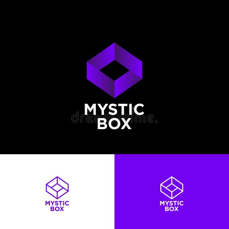 Logotipo místico de la caja La caja imposible consiste en la cinta violeta en un fondo negro stock de ilustración
