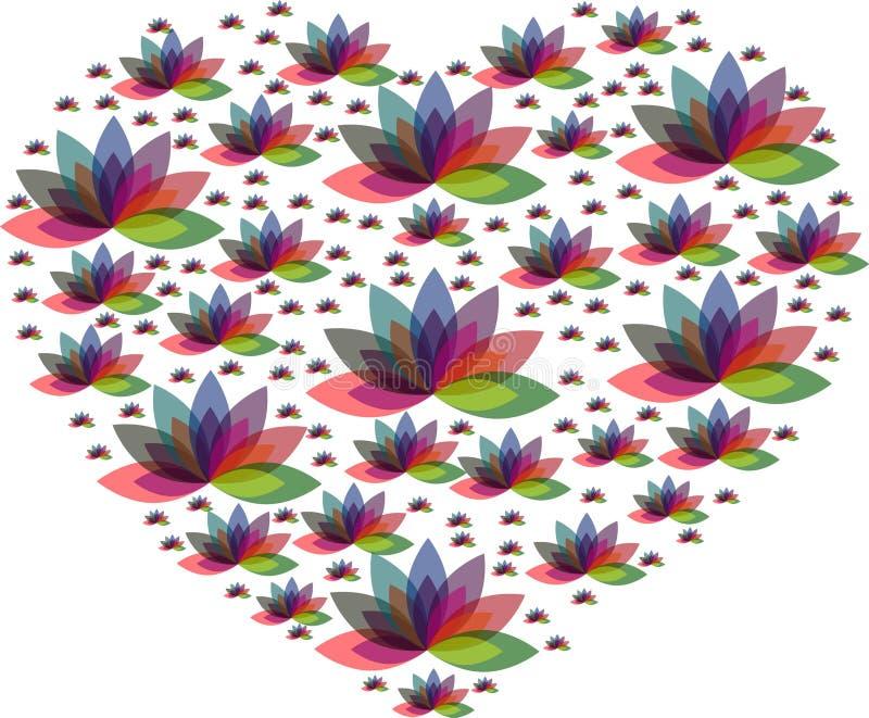 Logotipo múltiplo do coração da flor da cor ilustração stock
