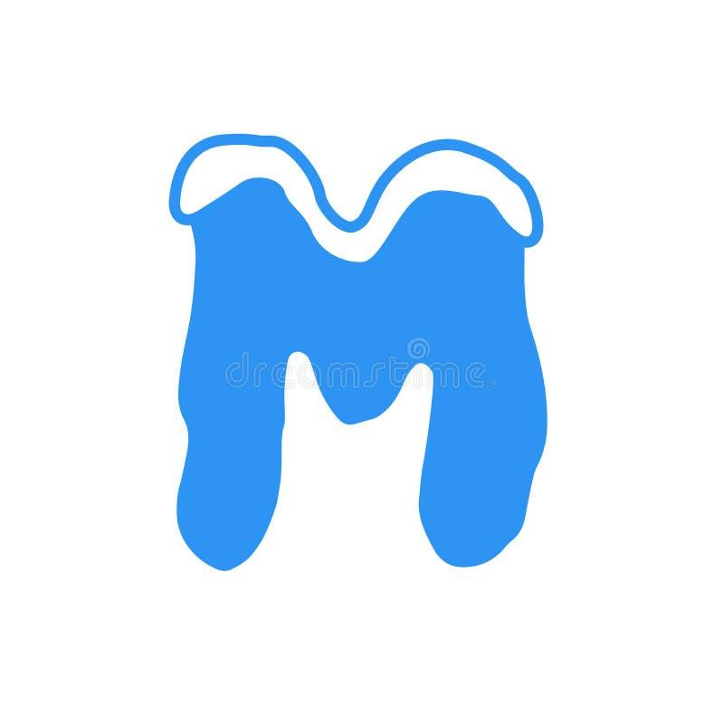 Logotipo M da letra da neve do vetor fotografia de stock