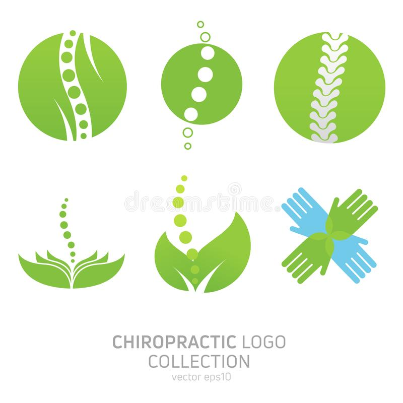 Logotipo manual ajustado da terapia Quiroterapia e a outra medicina alternativa ilustração do vetor
