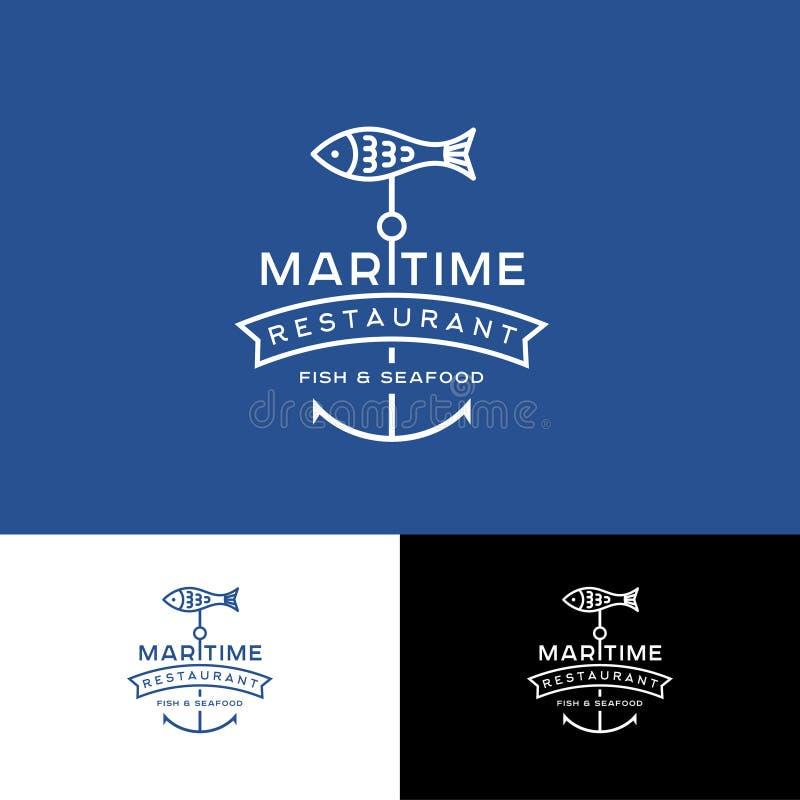 Logotipo marítimo de Restauraunt do marisco e dos peixes Peixes e letras com fita ilustração stock