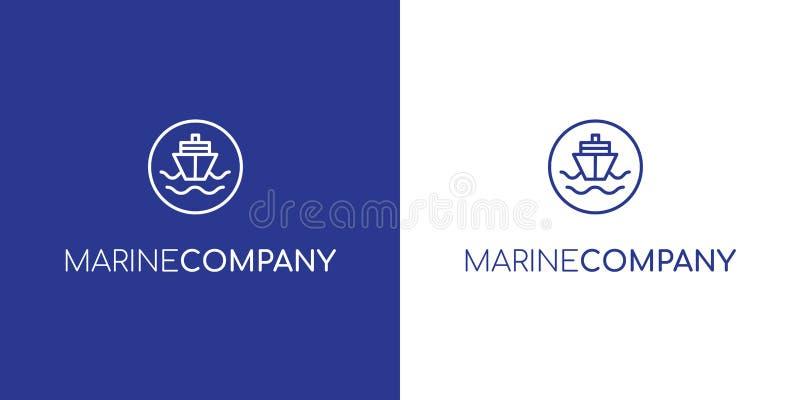 Logotipo marinho do navio de carga do esboço azul moderno do vetor ilustração do vetor