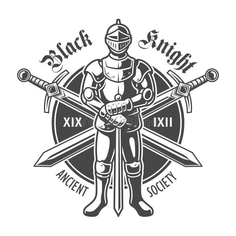 Logotipo medieval acorazado del caballero del vintage ilustración del vector