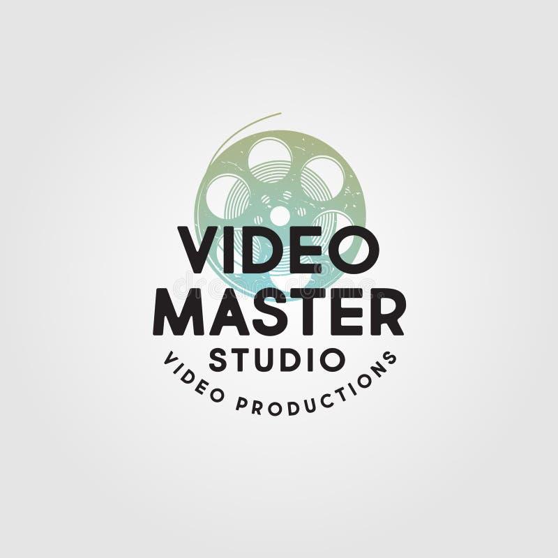 Logotipo mestre video Emblema video do estúdio da produção Símbolo do cinematografia-filme com letras ilustração stock