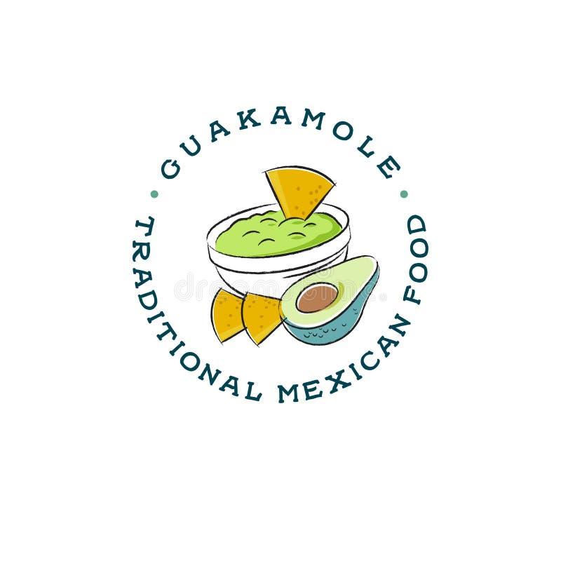 Logotipo mexicano del restaurante Dibujo del Guacamole y de los nachos Ejemplo de la salsa del aguacate ilustración del vector