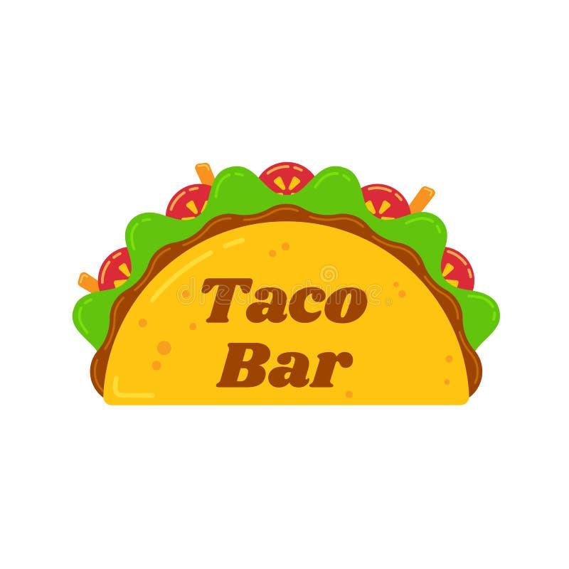 Logotipo mexicano tradicional de la muestra de la barra de la comida de los tacos stock de ilustración