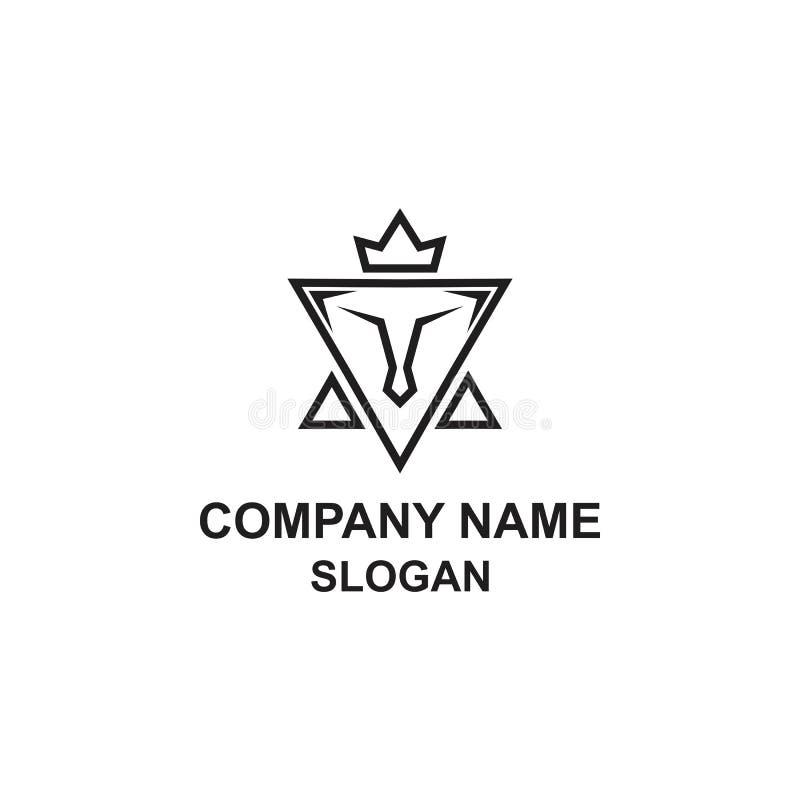 Logotipo minimalista del triángulo abstracto del león ilustración del vector