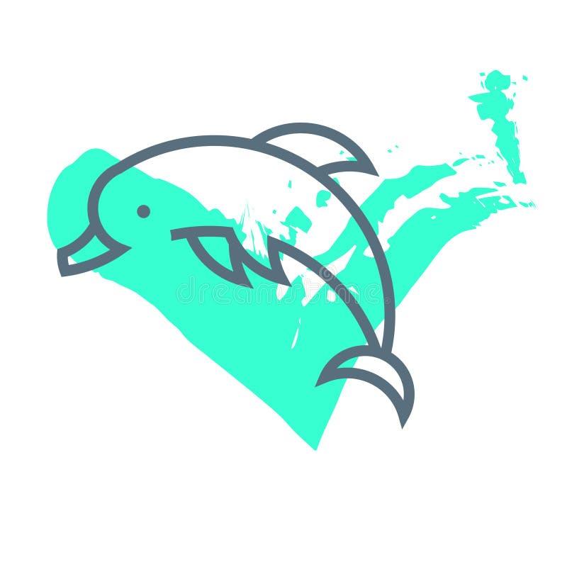 Logotipo minimalistic horizontalmente simples do golfinho do vetor ilustração royalty free