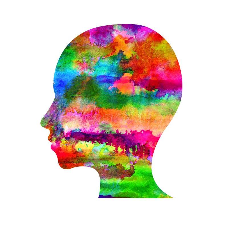 Logotipo moderno da cabeça da aquarela da psicologia Ser humano do perfil Estilo creativo Logotype dentro Conceito de projeto Emp ilustração royalty free