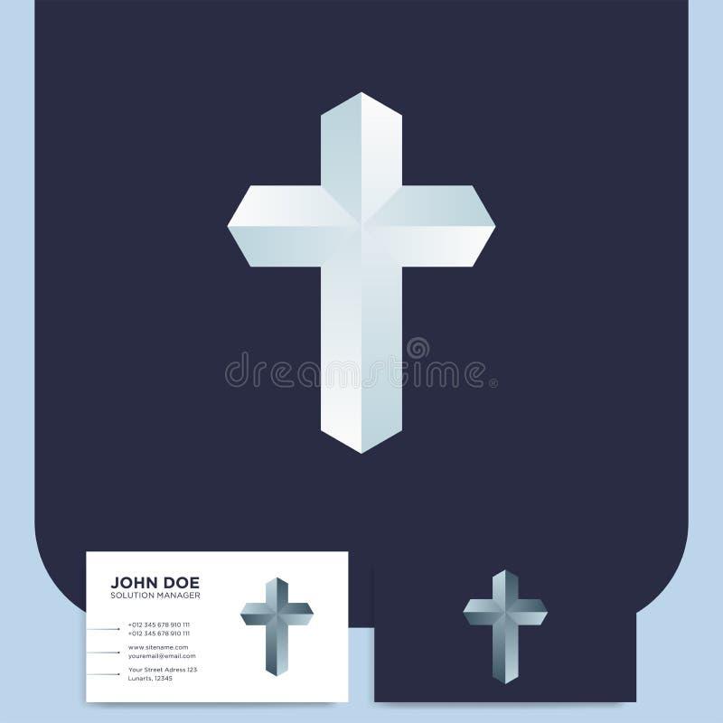 Logotipo moderno da cruz da igreja 3d Símbolo cristão para o batista ou o lut ilustração royalty free