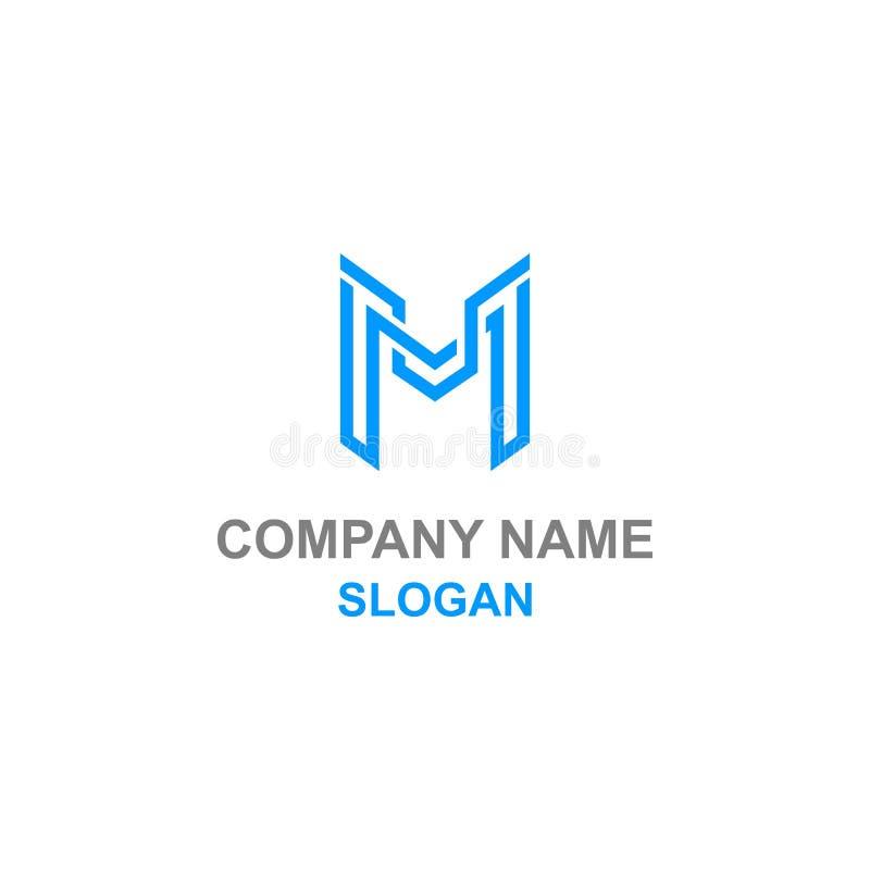Logotipo moderno da inicial da letra de M ilustração do vetor