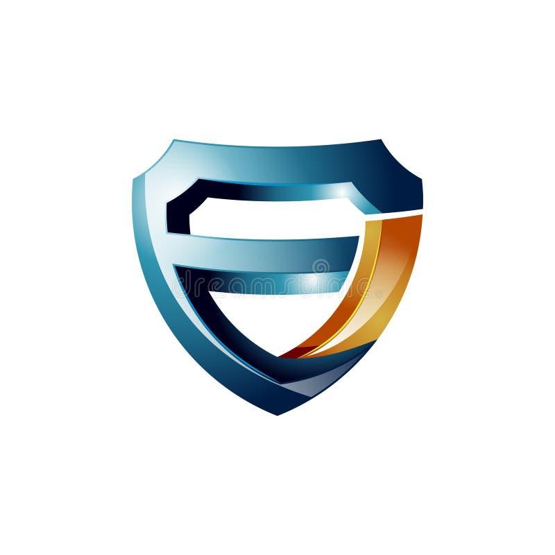 logotipo moderno da proteção de 3D E- F Letter Strong Guard ilustração stock