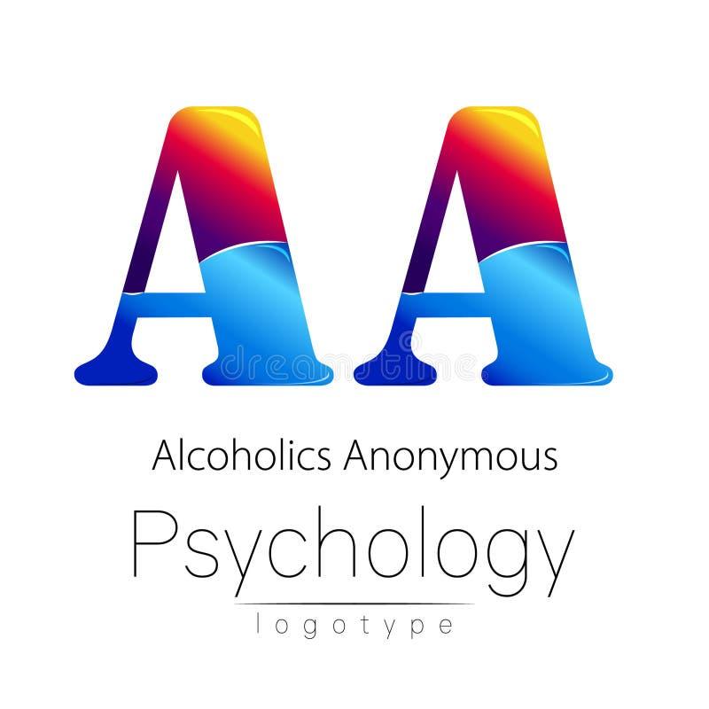 Logotipo moderno da psicologia Estilo creativo Logotype no vetor Conceito de projeto Empresa do tipo Letra da cor azul e vermelha ilustração royalty free