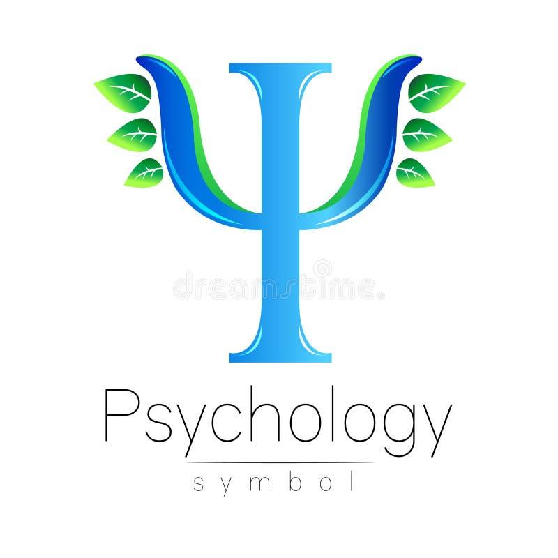 Logotipo moderno da psicologia psi Estilo creativo Logotype no vetor Conceito de projeto Empresa do tipo Letra azul da cor ilustração do vetor