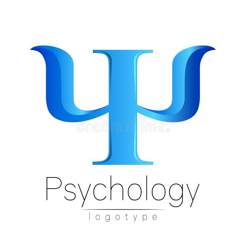 Logotipo moderno da psicologia psi Estilo creativo Logotype no vetor Conceito de projeto Empresa do tipo Letra azul da cor sobre ilustração do vetor