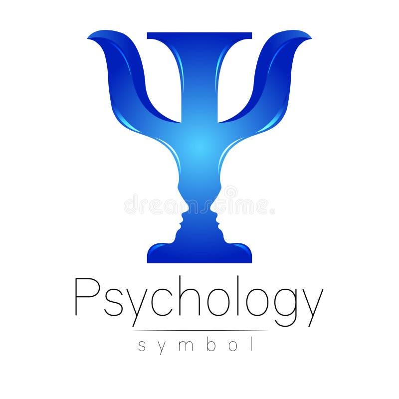 Logotipo moderno da psicologia psi Estilo creativo Logotype no vetor Conceito de projeto Empresa do tipo Letra azul da cor sobre ilustração royalty free