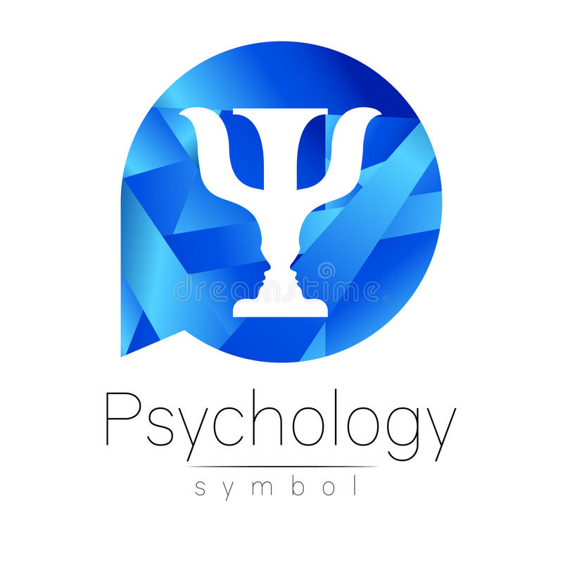 Logotipo moderno da psicologia psi Estilo creativo Logotype no vetor Conceito de projeto Empresa do tipo Letra azul da cor sobre ilustração stock