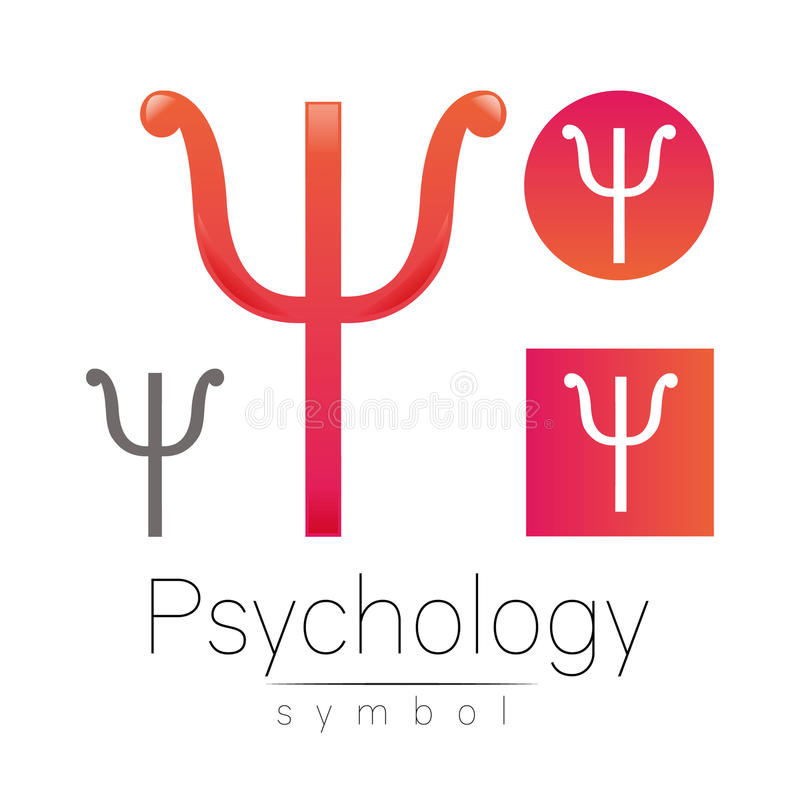 Logotipo moderno da psicologia psi Estilo creativo Logotype no vetor Conceito de projeto Empresa do tipo Letra cor-de-rosa da cor ilustração do vetor