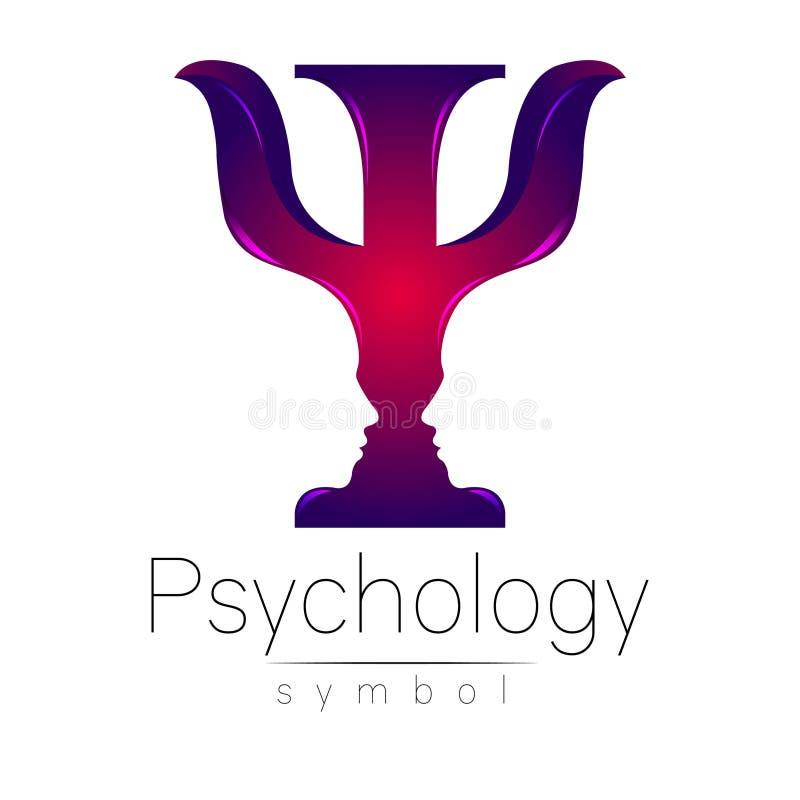 Logotipo moderno da psicologia psi Estilo creativo Logotype no vetor Conceito de projeto Empresa do tipo Letra violeta da cor ilustração do vetor