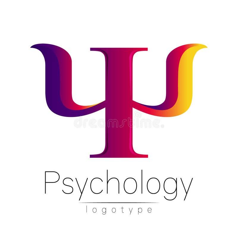 Logotipo moderno da psicologia psi Estilo creativo Logotype no vetor Conceito de projeto Empresa do tipo Rosa amarelo violeta ilustração stock