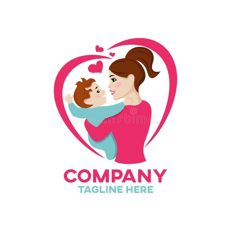 Logotipo moderno de la madre y del niño de la felicidad ilustración del vector