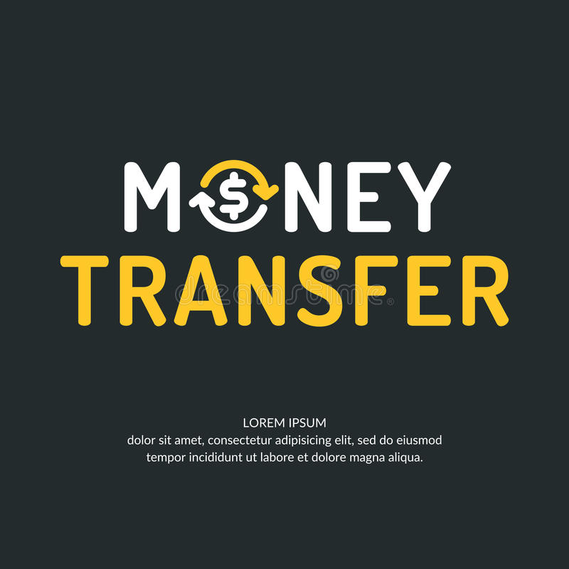 Logotipo moderno e emblema de transferência de dinheiro ilustração do vetor