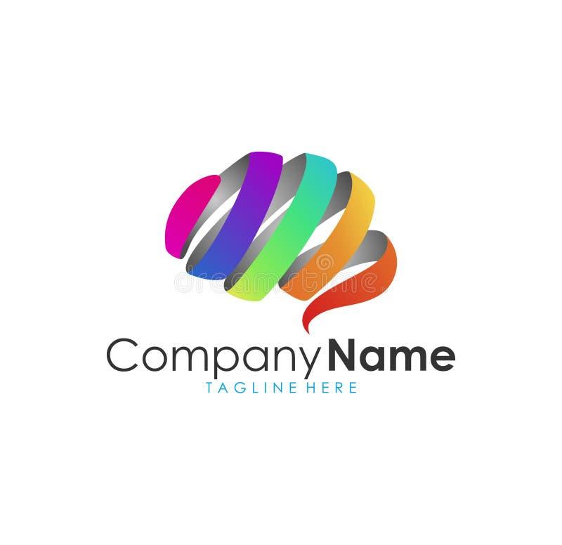 Logotipo moderno impressionante bonito, cérebro moderno colorido do arco-íris ilustração stock