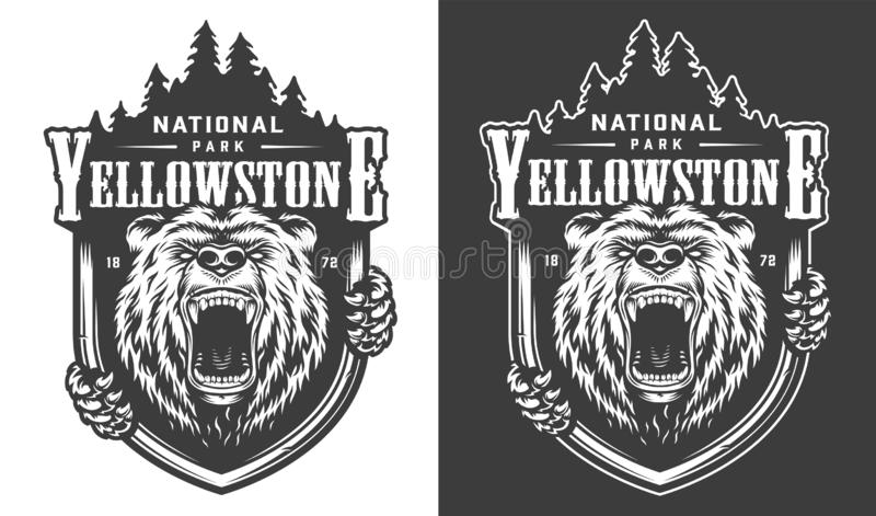 Logotipo monocromático do vintage do parque nacional de Yellowstone ilustração stock