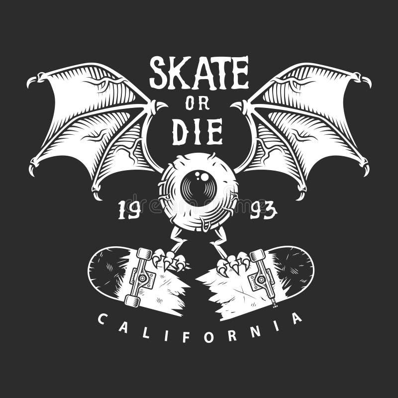 Logotipo monocromático skateboarding do vintage ilustração royalty free